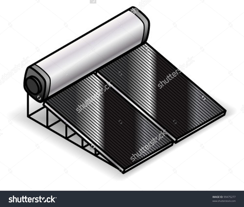 Solar Hot Water Heater Stock Vector 99475277.