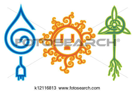 Clipart of Water Solar Wind Energy k12116813.