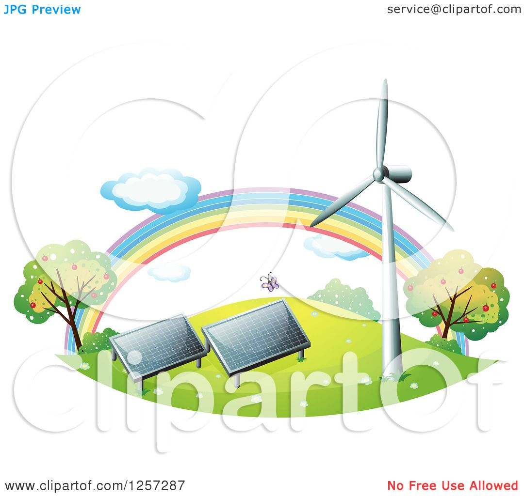 Clipart Of A Rainbow Wind Turbine and Solar Panels.