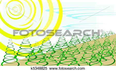Stock Illustration of our resources, solar, wind, trees k5348825.