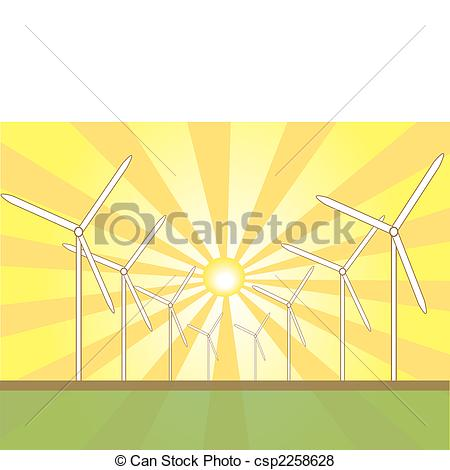 Vector of Solar Wind Mills.