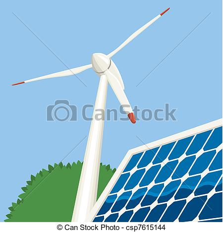 EPS Vector of Wind and Solar Energy.