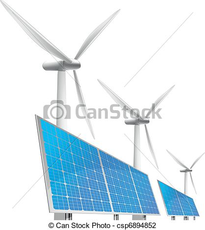 Vector Illustration of solar cells and wind generator.
