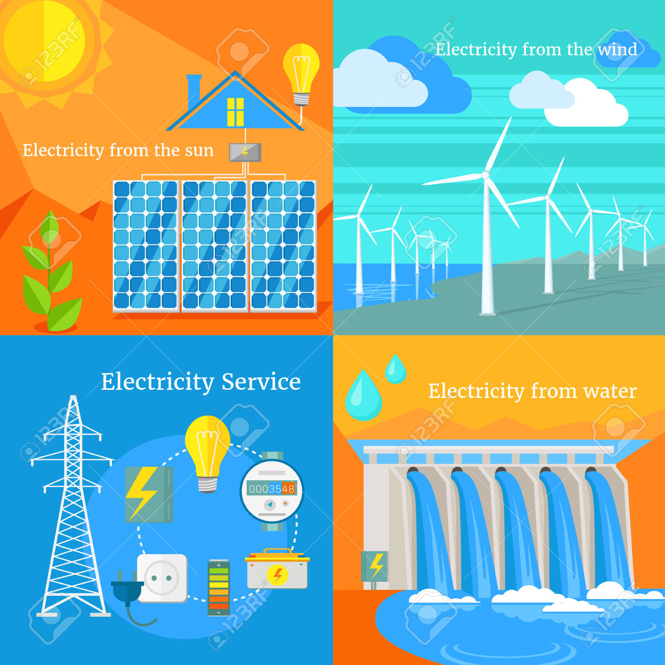 Wind Solar House Clipart.