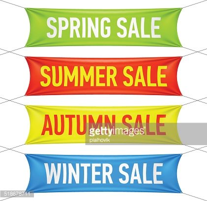 Spring, summer, autumn, winter sale banners Clipart Image.