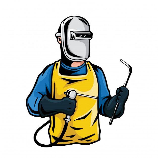 Ilustração Profissional Do Personagem Do Soldador Industrial.