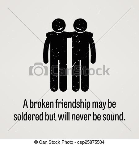 Vector Clipart of A Broken Friendship may be Soldered.