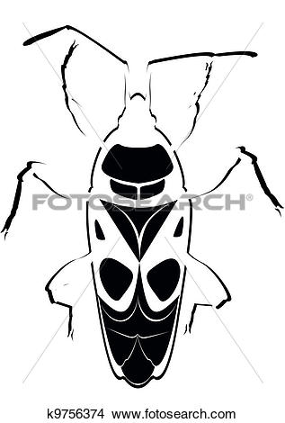 Clipart of Contour soldier beetle k9756374.