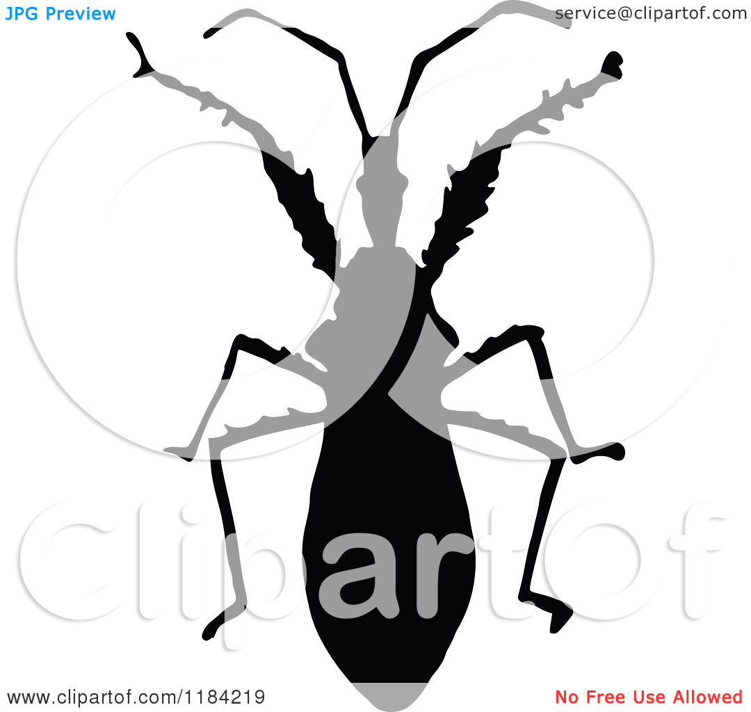 Clipart of a Black Silhouetted Soldier Bug.