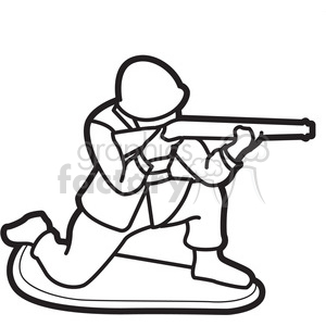 black white toy military soldier illustration graphic clipart. Royalty.