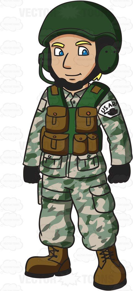 A US Army Tank Operator #cartoon #clipart #vector.