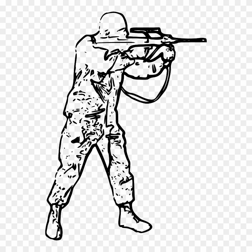 Black And White Picture Of Soldier Clipart (#1990730.