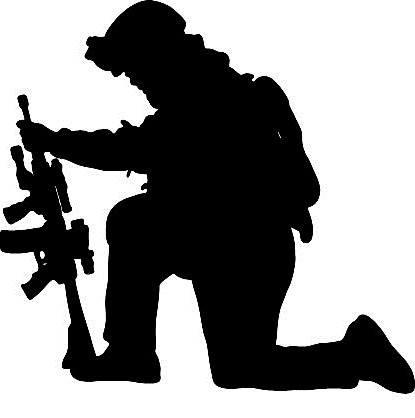 Soldier Praying Silhouette Png.