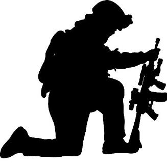 Praying Soldier Silhouette.