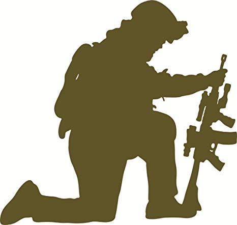 Army Navy Marines Military Soldier Kneeling Support Our Troops Praying  Soldier Picture Art.
