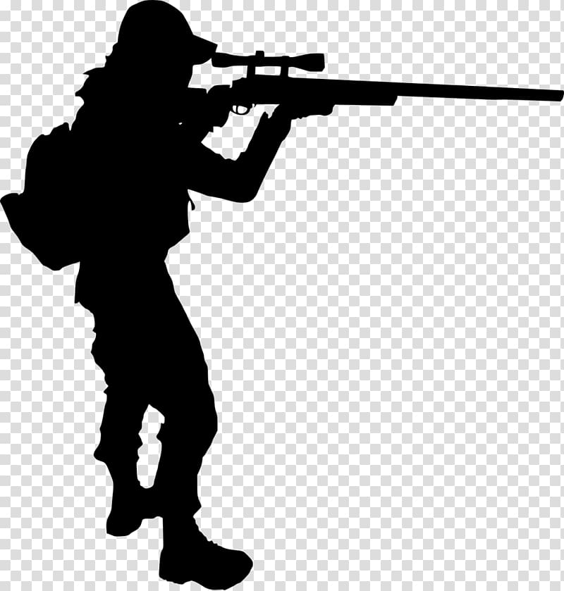 Sniper rifle Silhouette Soldier, shooter transparent.