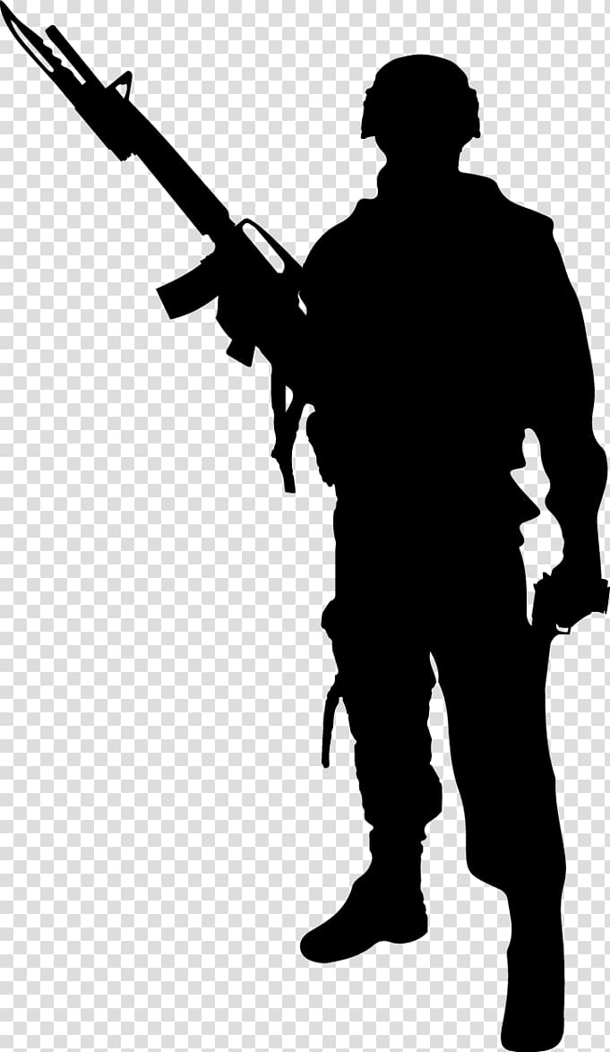Of man holding rifle stencil illustration, Soldier.
