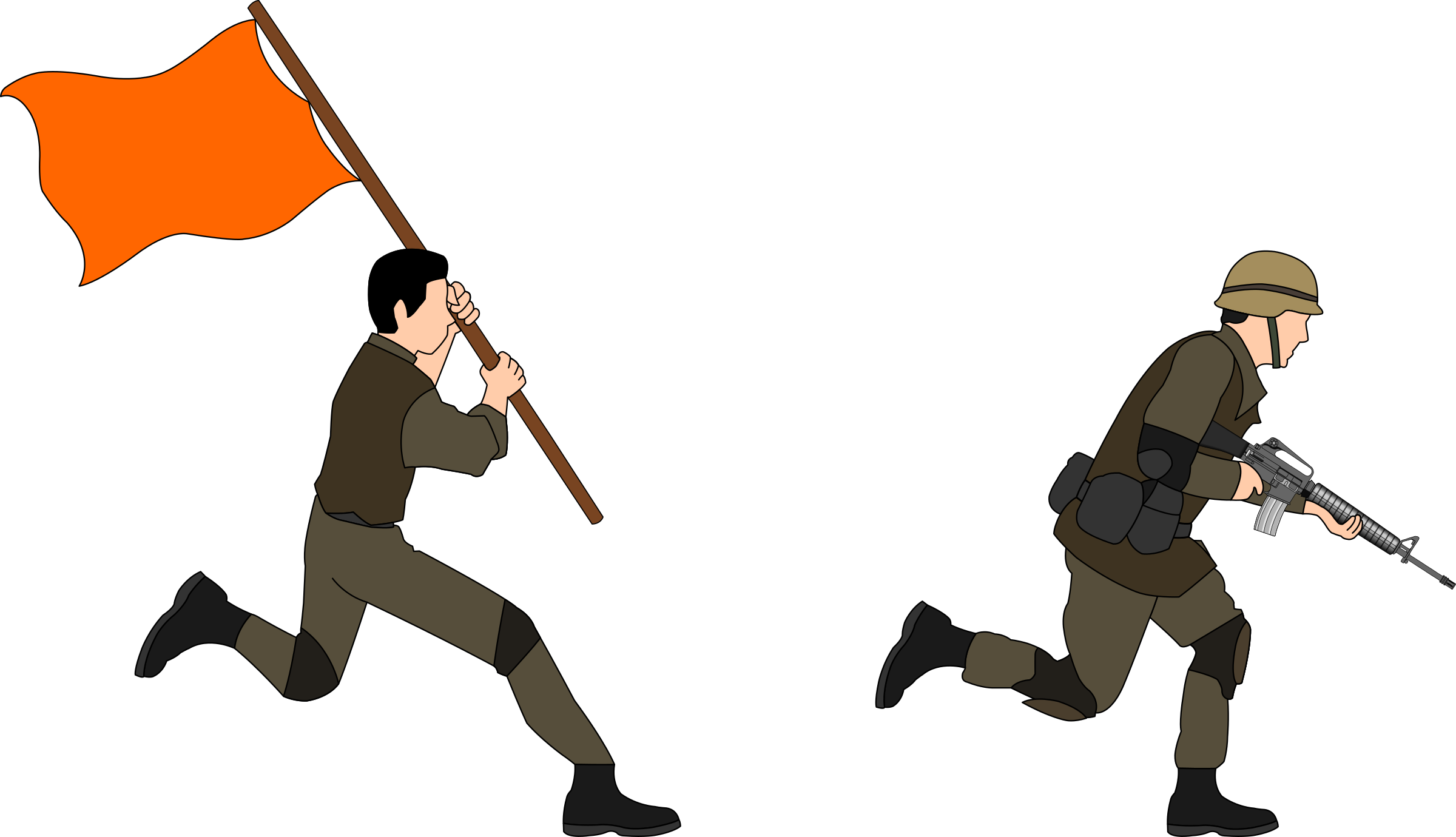 Charging Soldiers Vector Clipart.