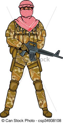 Vector Clipart of arabic soldier.