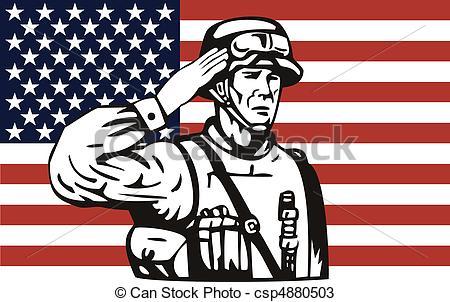 Drawings of American soldier saluting American flag.