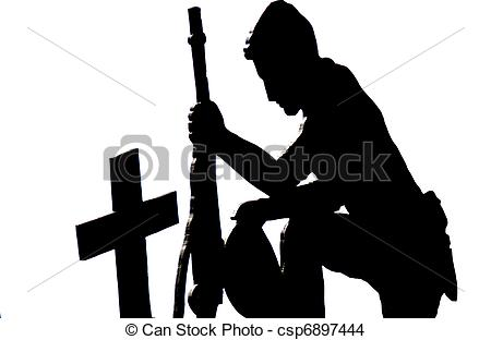 Drawing of Soldier kneeling silhouette.
