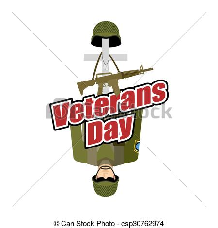Vectors Illustration of Veterans Day. US Army soldier and war.