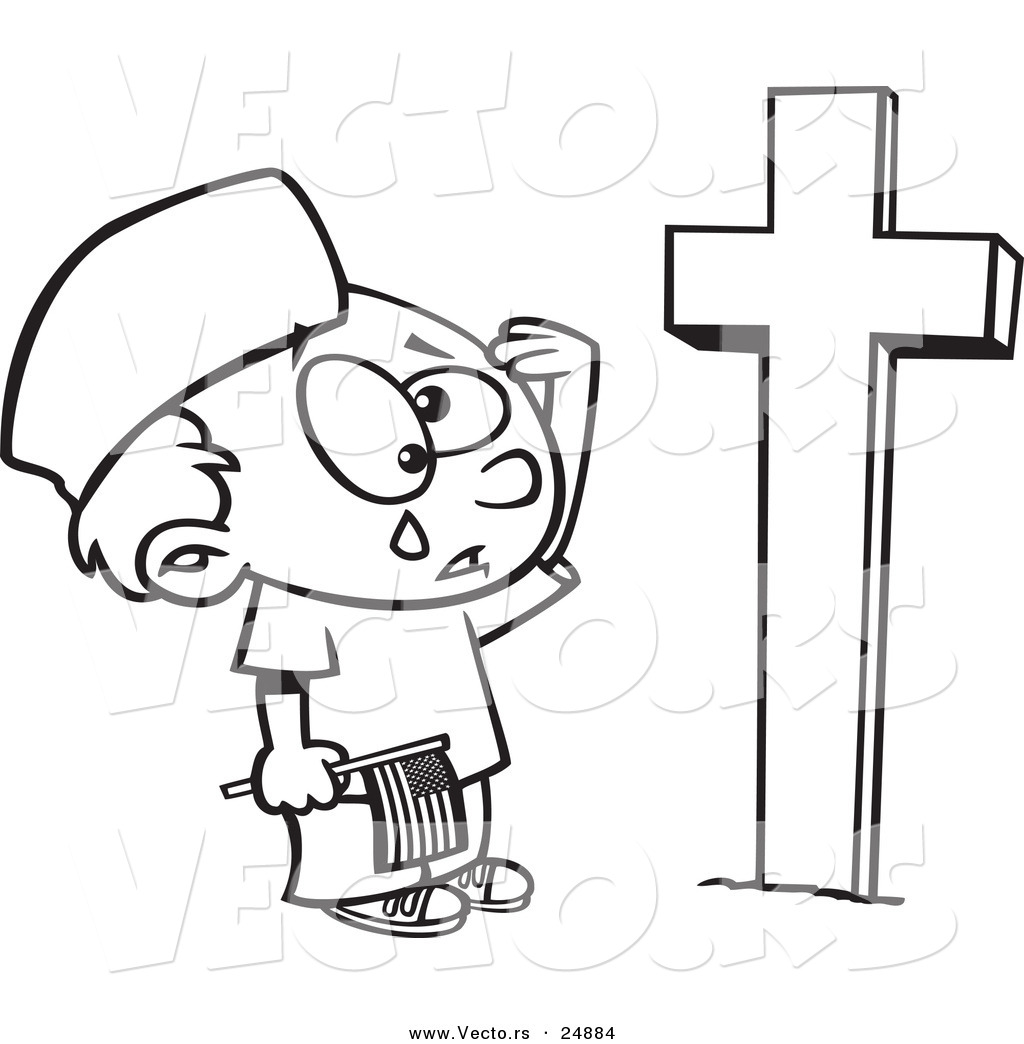 Boy At Grave Clipart.