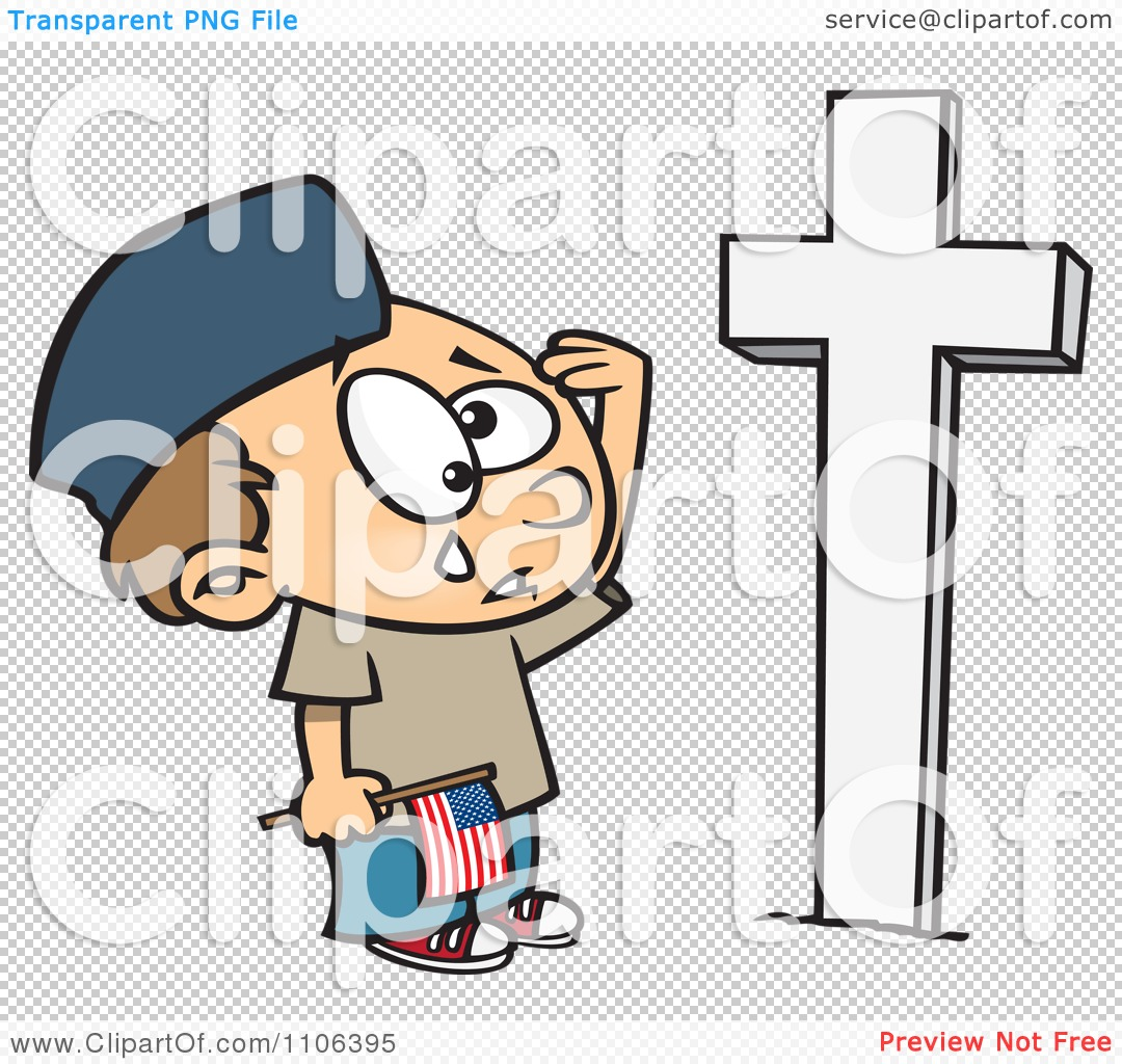 Clipart Boy Crying At A Soldiers Grave On Memorial Day.