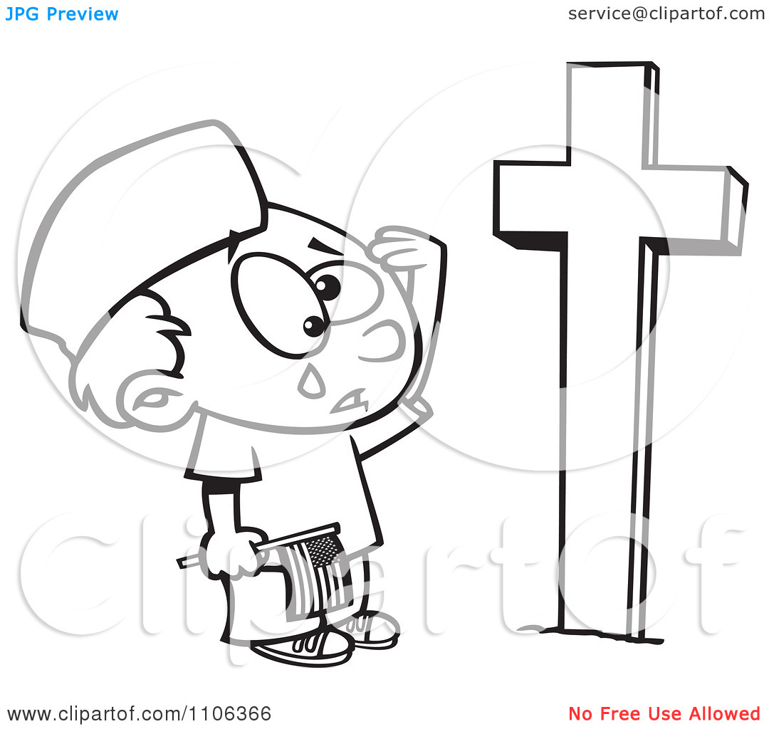 Clipart Outlined Boy Crying At A Soldiers Grave On Memorial Day.