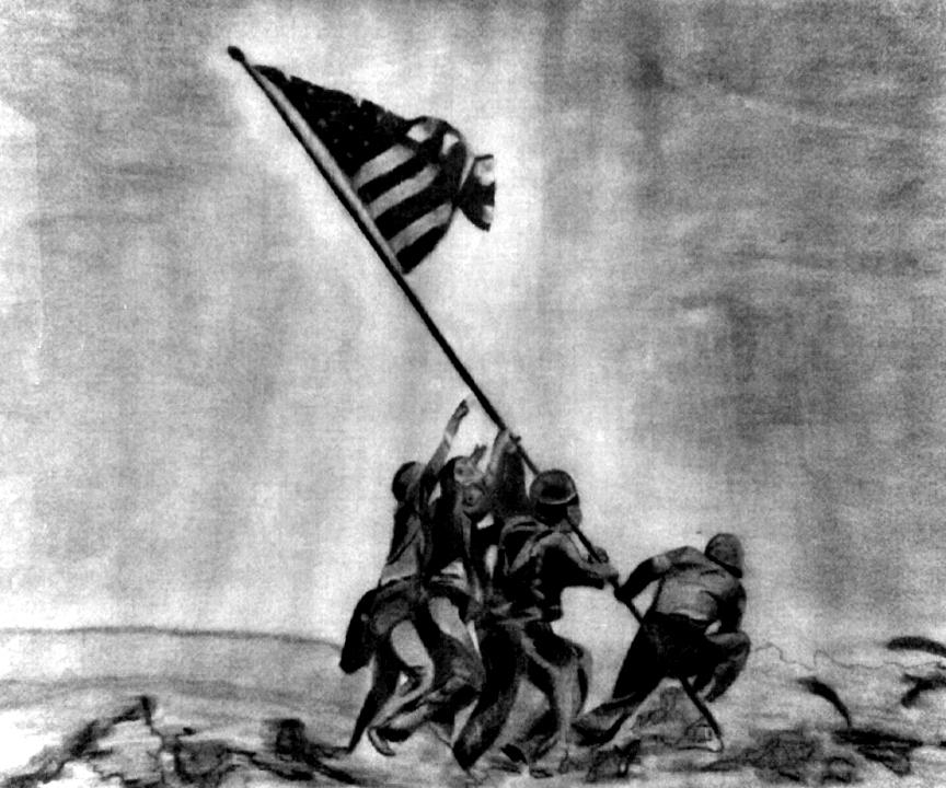 Pencil & Charcoal Drawing American flag *Artist Tami Dalton* See.