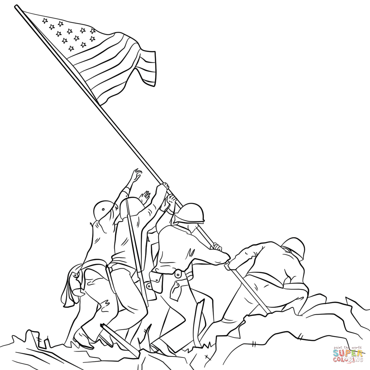Soldiers Lifting Up Flag Clipart.