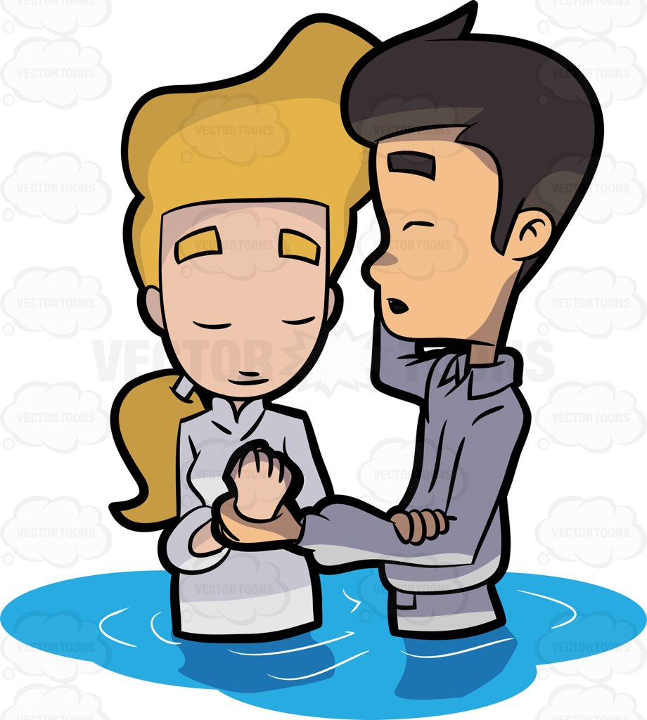 A Woman Solemnly Prays Before Her Baptism Cartoon Clipart.