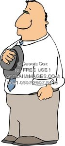 Clipart Illustration: Solemn Man Holding His Hat Over His Heart.