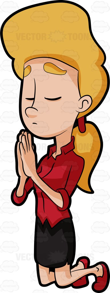 A Woman Solemnly Says Her Prayer To The Lord Cartoon Clipart.