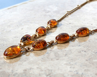 Items similar to Amber Linen Necklace Baltic Amber Jewelry Pure.