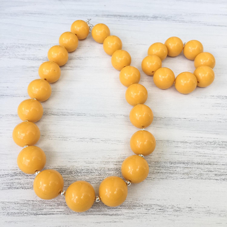 Mustard yellow beads.
