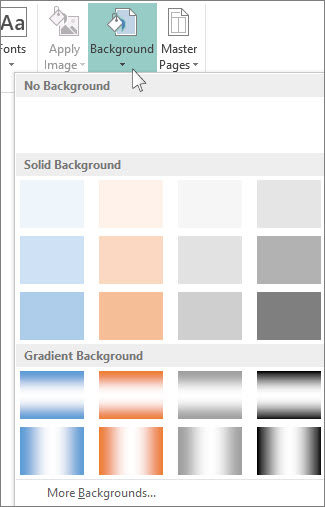 Change the background color using Publisher.