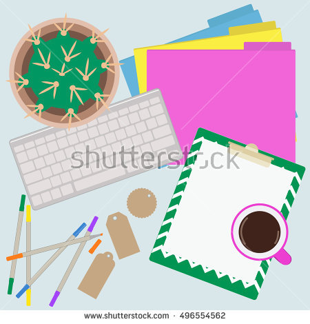 Flat Lay Desk Mockup Accessories solid Background Stock Vector.