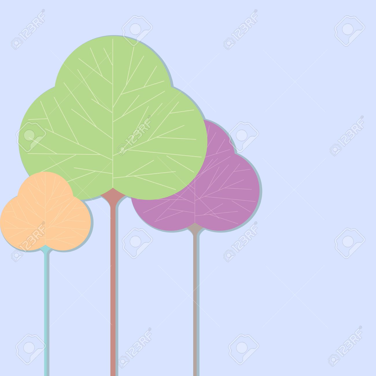 Three Leaf Shaped Tree Illustrations On A Solid Color Background.