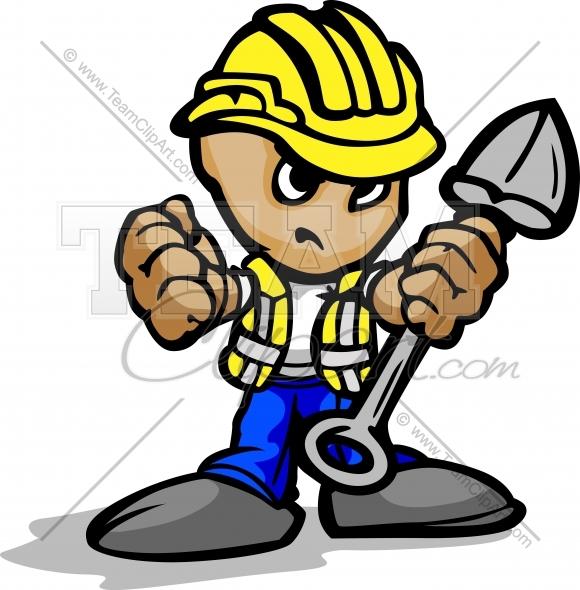 Cartoon Construction Workers Working.