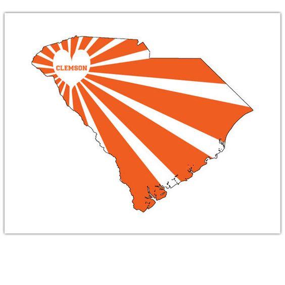 Modern Art Map of South Carolina, Clemson, Clemson Tigers, Clemson.