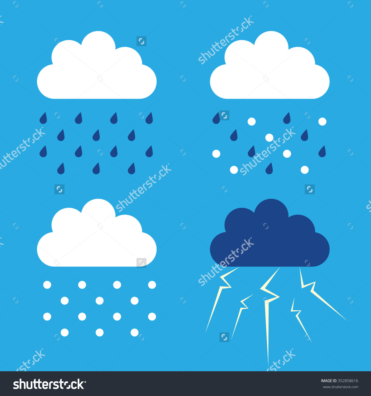 Set Clouds Rain Snow Sleet Thunder Stock Vector 352858616.
