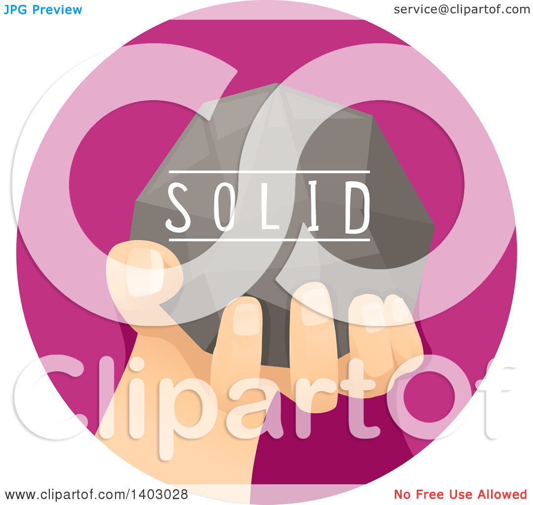 Clipart of a Child's Hand Holding a Solid Rock.