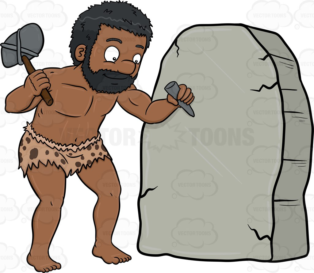 A Black Caveman Cheerfully Works On A Solid Rock Cartoon Clipart.