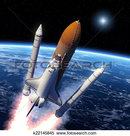 Stock Illustration of Space Shuttle Solid Rocket Boosters.
