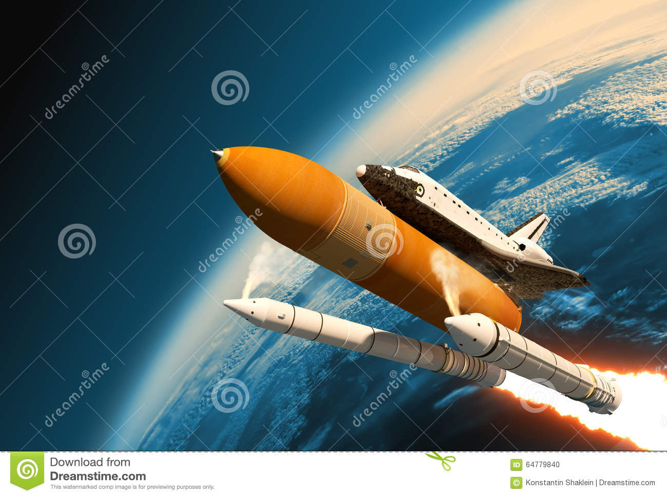 Space Shuttle Solid Rocket Boosters Separation In Stratosphere.