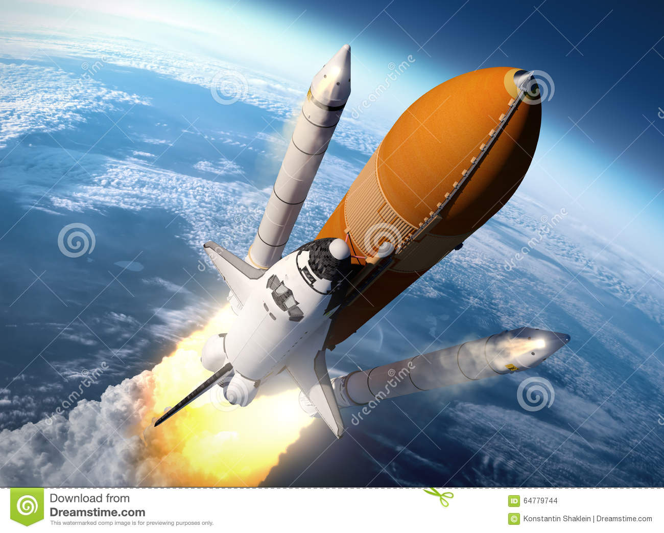 Space Shuttle Solid Rocket Boosters Separation Stock Illustration.