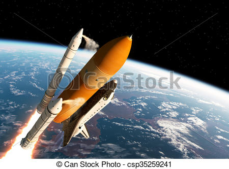 Drawing of Space Shuttle Solid Rocket Boosters Separation. 3D.