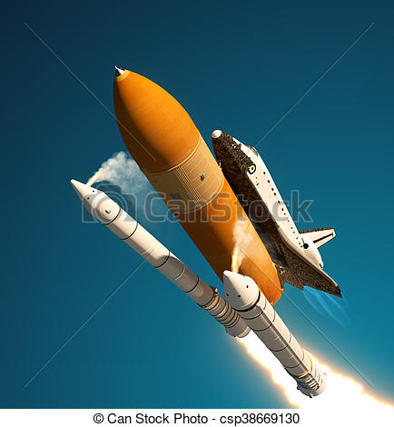 Drawings of Space Shuttle Solid Rocket Boosters Separation. 3D.