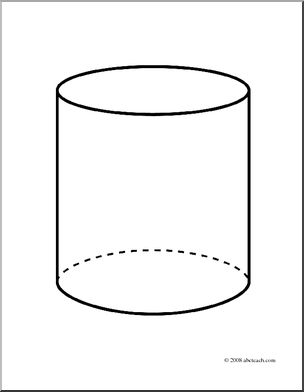 Clip Art: 3D Solids: Cylinder (coloring page).